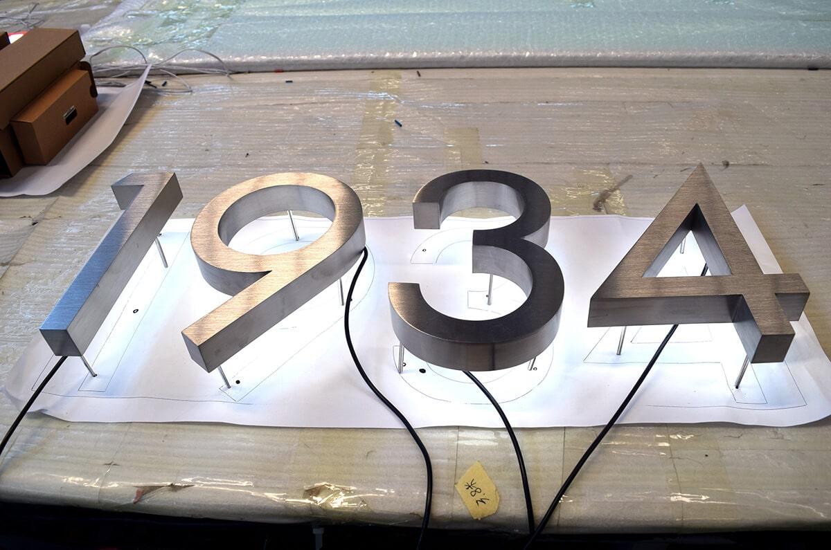 LED backlit house numbers